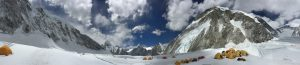 Panoramic photo, starting with Nuptse, overseeing Mt. Pumori and then towards Everest and the Western Cwm