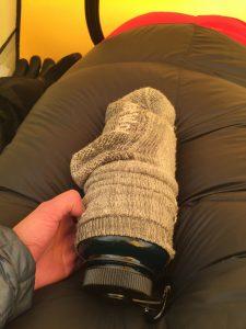 Hot water bottle warming socks!