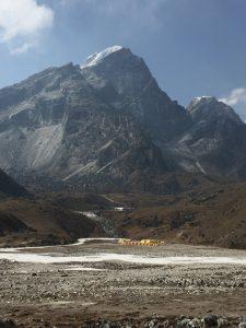 Lobuche peak and tents of Everest climbers