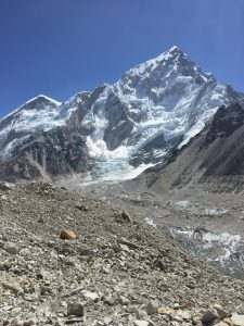 An avalanche falling from Mt. Nuptse