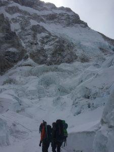 Climbers passing through